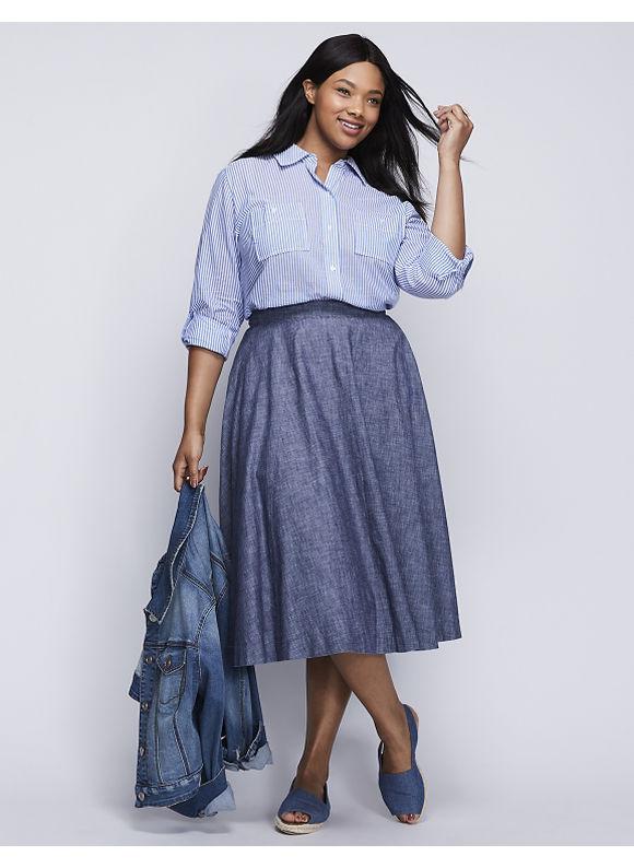Lane Bryant Plus Size Chambray Circle Skirt,  Women' Size: 20,  Denim Blue plus size,  plus size fashion plus size appare