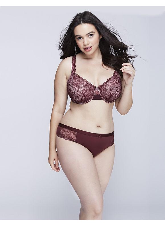 Cacique Plus Size Charmer Wide-Side Thong Panty with Lace,  Women' Size: 14/16,  Port Royal plus size,  plus size fashion plus size appare