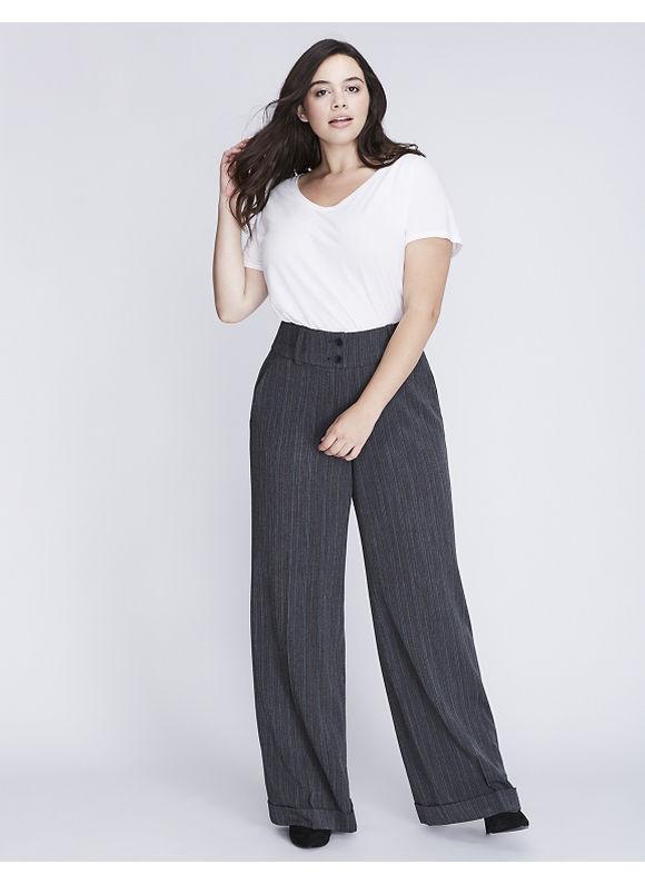 Lane Bryant Plus Size Lena Tailored Stretch Pinstripe Wide Leg Pant,  Women' Size: 20,  Grey plus size,  plus size fashion plus size appare