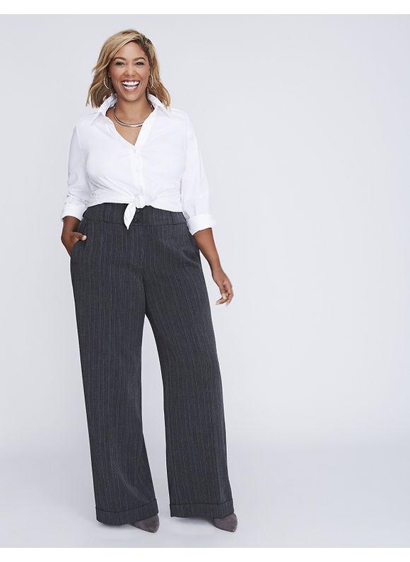 Lane Bryant Plus Size Ashley Tailored Stretch Pinstripe Wide Leg Pant,  Women' Size: 22T,  Grey plus size,  plus size fashion plus size appare