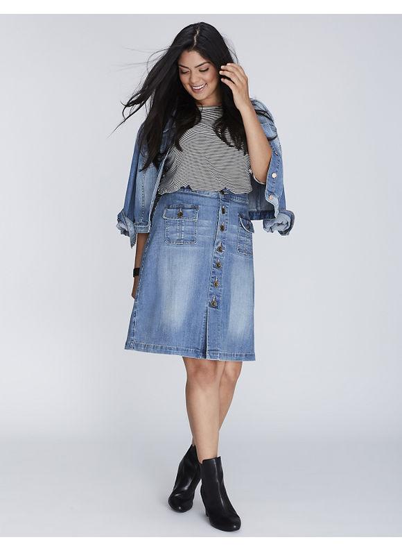 Lane Bryant Plus Size Button-Front Denim Skirt,  Women' Size: 26,  Light Denim plus size,  plus size fashion plus size appare
