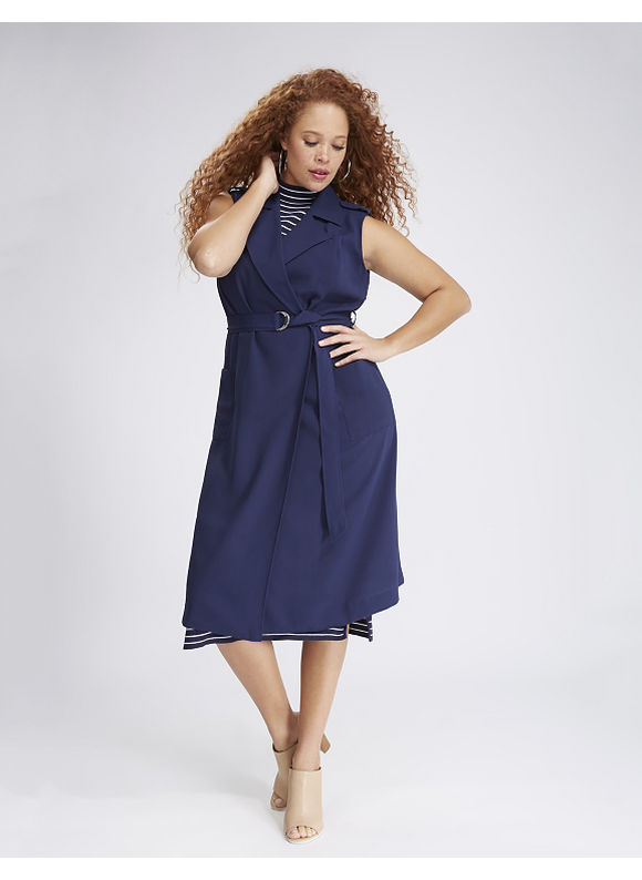 Lane Bryant Plus Size Sleeveless Trench Coat,  Women' Size: 26/28,  Navy Blue plus size,  plus size fashion plus size appare