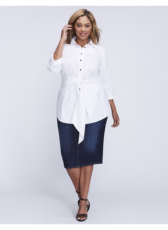 Lane Bryant Plus Size Tie-Waist Tunic,  Women' Size: 28,  White plus size,  plus size fashion plus size appare