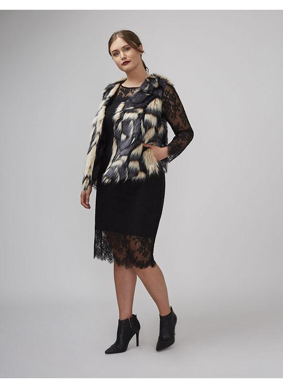 Lane Bryant Plus Size Patchwork Faux Fur Vest, Women's, Size: 18/20, Multi