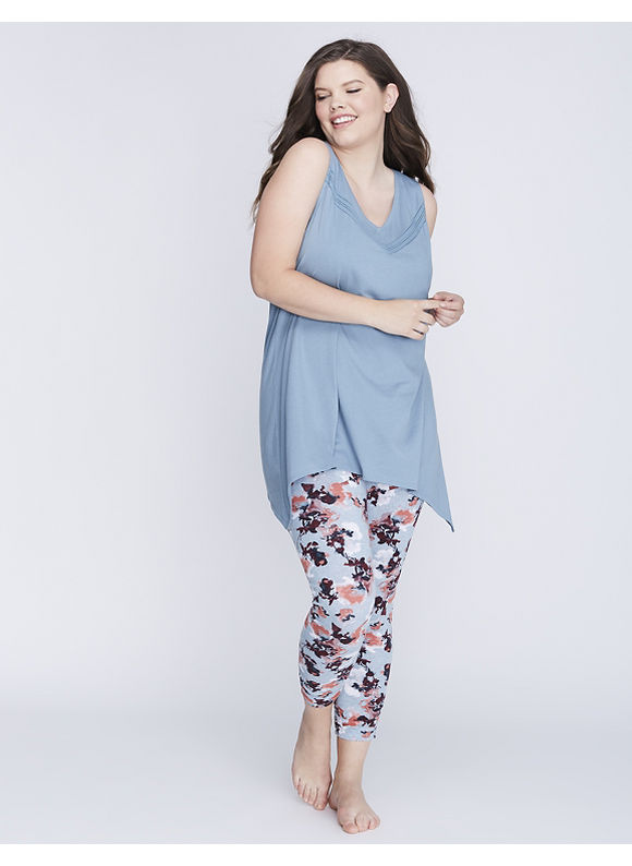 Cacique Plus Size Racerback Tank & Legging PJ Set,  Women' Size: 22/24,  Smoke Blue Floral plus size,  plus size fashion plus size appare
