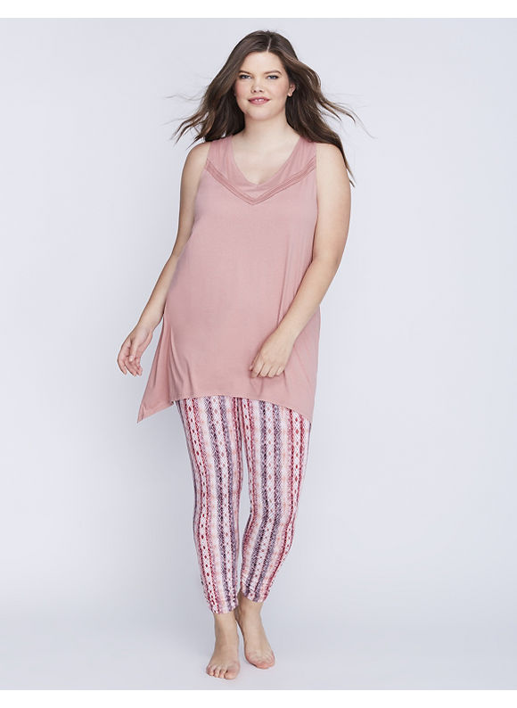 Cacique Plus Size Racerback Tank & Legging PJ Set,  Women' Size: 14/16,  Ash Rose plus size,  plus size fashion plus size appare