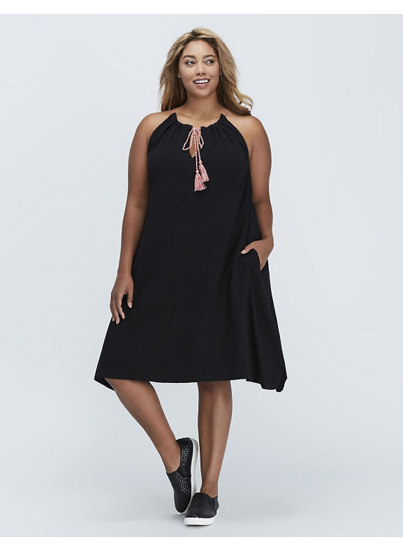 C & C California Plus Size Tank Dress with Tassels by,  Women' Size: 14/16,  Black plus size,  plus size fashion plus size appare