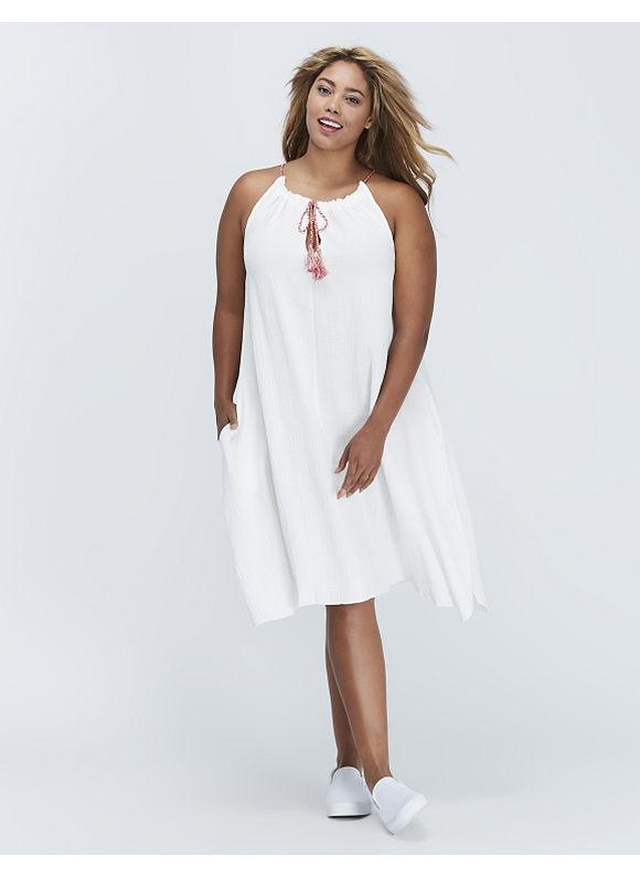 C & C California Plus Size Tank Dress with Tassels by,  Women' Size: 14/16,  White plus size,  plus size fashion plus size appare