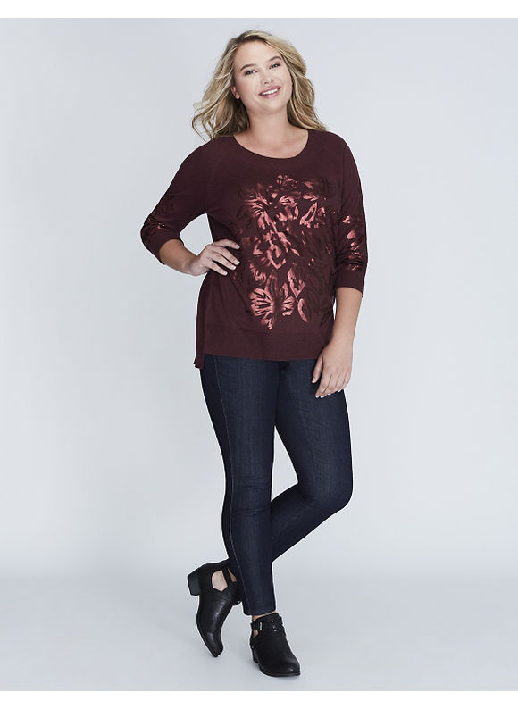 Lane Bryant Plus Size Sweater with Floral Graphic Women' Size: 18/20,  Dark Wine plus size,  plus size fashion plus size appare