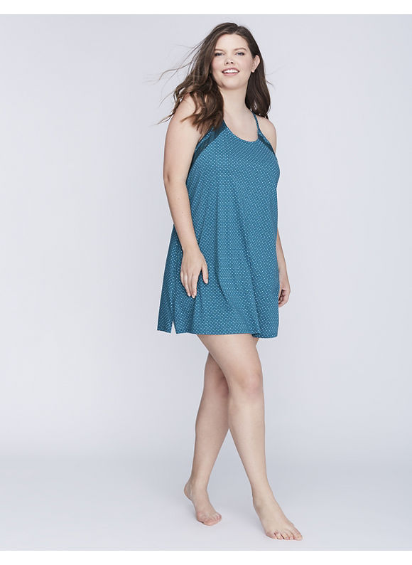 Cacique Plus Size Chemise with Lace Insert Women' Size: 18/20,  Fall Dot Shaded Spruce plus size,  plus size fashion plus size appare