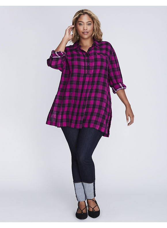 Lane Bryant Plus Size Plaid Casual Tunic,  Women' Size: 14/16,  Pink Reverse Plaid plus size,  plus size fashion plus size appare