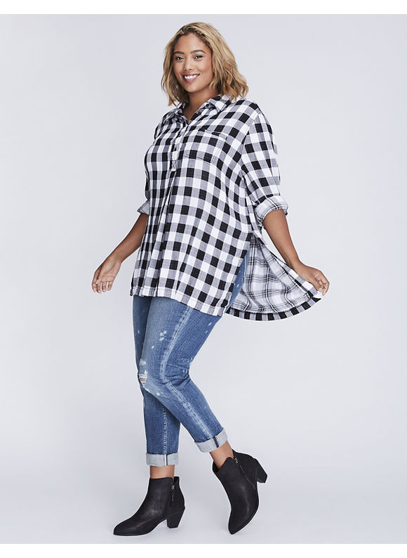 Lane Bryant Plus Size Plaid Casual Tunic,  Women' Size: 14/16,  Reverse Plaid plus size,  plus size fashion plus size appare