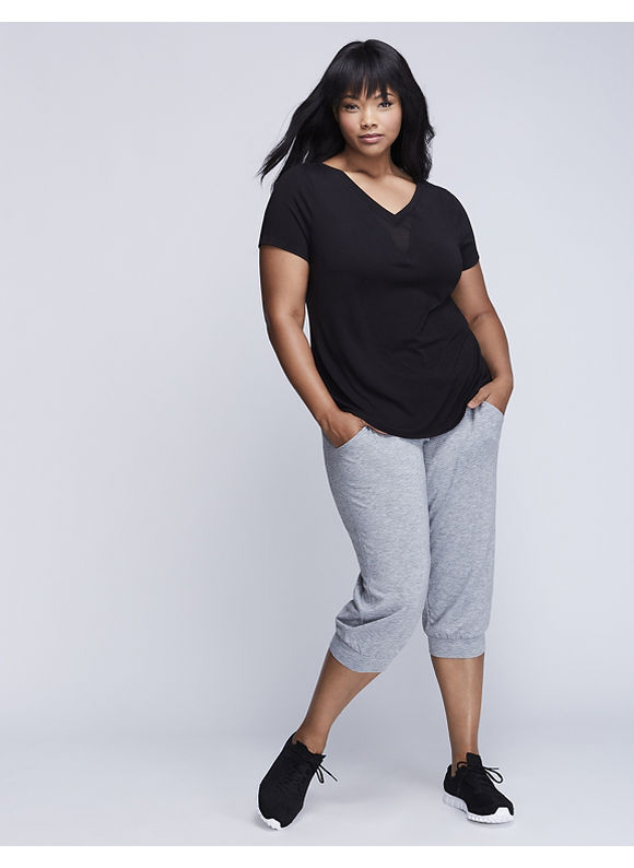 Livi Active Plus Size Double V Active Tee with Mesh Inset,  Women' Size: 14/16,  Black plus size,  plus size fashion plus size appare