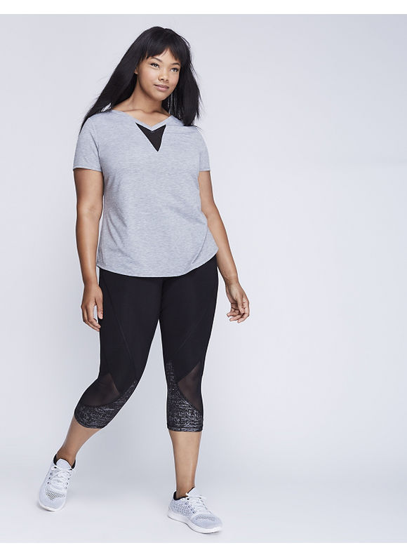 Livi Active Plus Size Double V Active Tee with Mesh Inset,  Women' Size: 22/24,  Gray plus size,  plus size fashion plus size appare