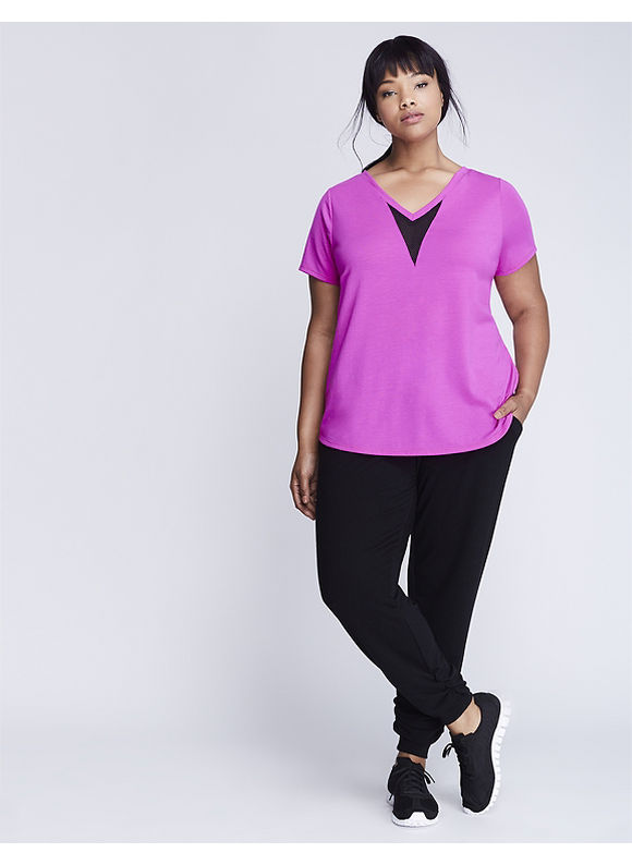 Livi Active Plus Size Double V Active Tee with Mesh Inset,  Women' Size: 26/28,  Pink plus size,  plus size fashion plus size appare