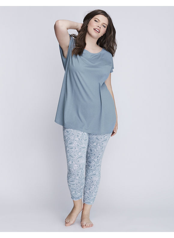 Cacique Plus Size Short-Sleeve Tee & Legging PJ Set,  Women' Size: 18/20,  Smoke Blue plus size,  plus size fashion plus size appare