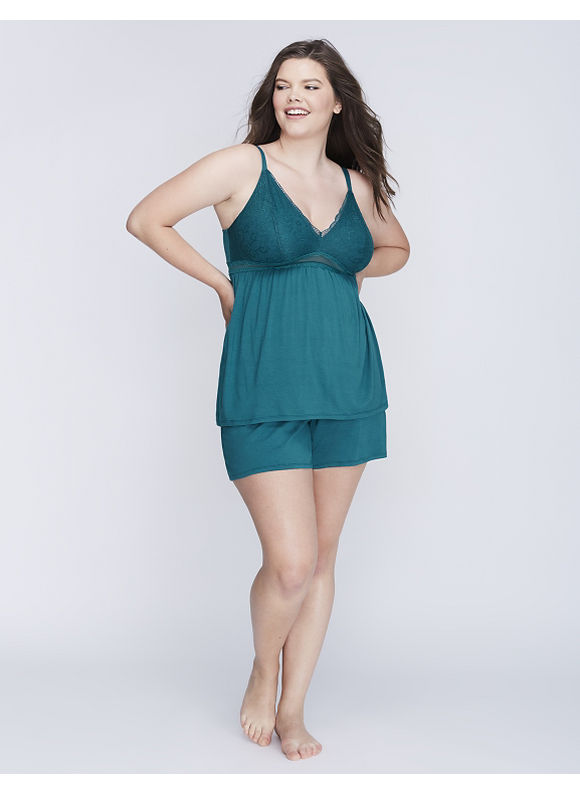 Cacique Plus Size Lace Cup Cami & Short PJ Set,  Women' Size: 22/24,  Shaded Spruce plus size,  plus size fashion plus size appare