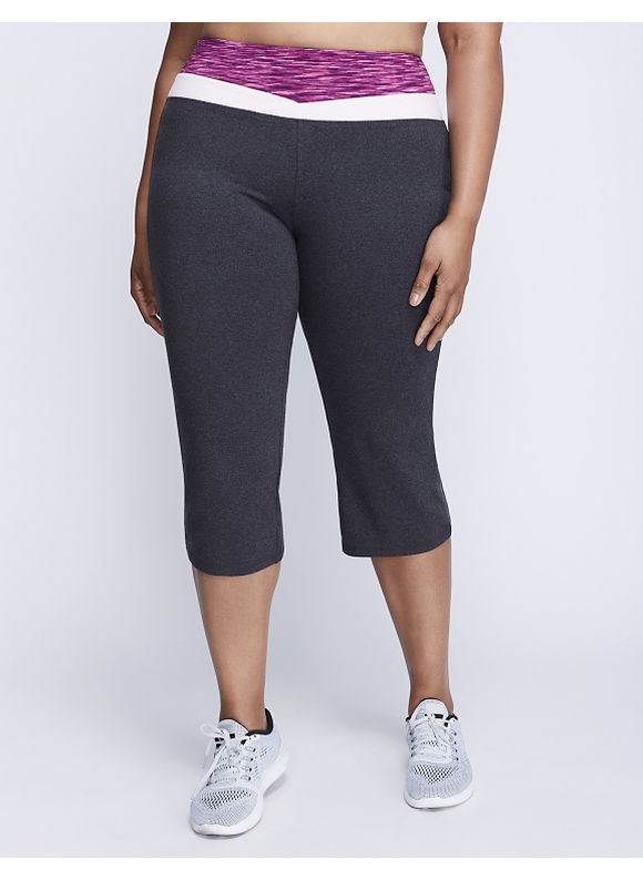 Livi Active Plus Size Signature Stretch Yoga Capri with Spacedye Waistband,  Women' Size: 14/16,  Gray plus size,  plus size fashion plus size appare