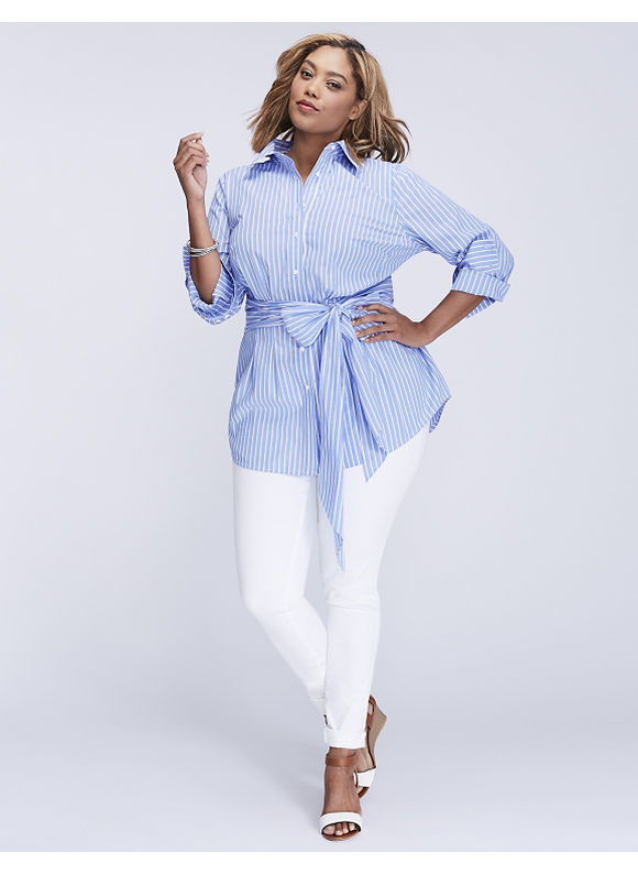 Lane Bryant Plus Size Striped Tie-Waist Tunic,  Women' Size: 28,  Blue Basic Stripe plus size,  plus size fashion plus size appare