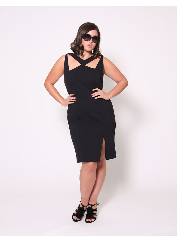 Christian Siriano Plus Size Cutout Ponte Dress by, Women's, Size: 18, Black