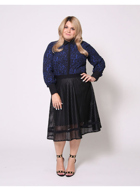 Christian Siriano Plus Size Lace Print Blouse by,  Women' Size: 26/28,  Blue plus size,  plus size fashion plus size appare