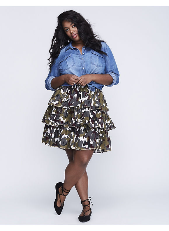 Lane Bryant Plus Size Printed Tiered Skirt,  Women' Size: 22/24,  Fall Floral Camo plus size,  plus size fashion plus size appare