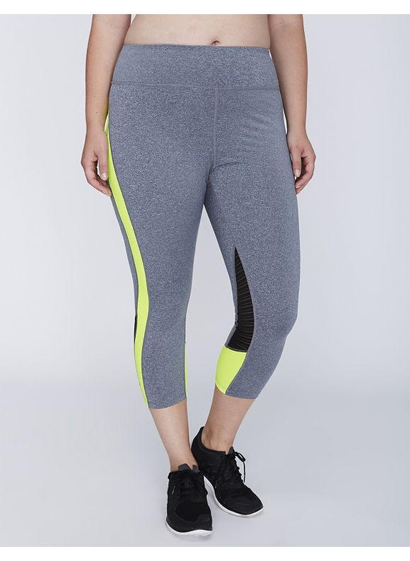 Jessica Simpson Plus Size Mesh-Detail Active Capri Legging by,  Women' Size: 22/24,  Safety Yellow plus size,  plus size fashion plus size appare