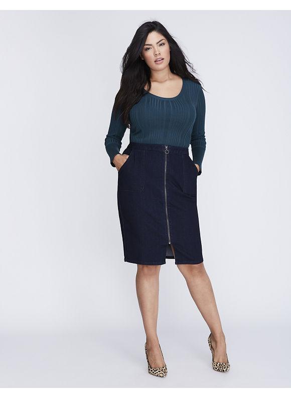 Lane Bryant Plus Size Front-Zip Denim Pencil Skirt,  Women' Size: 24,  Blue plus size,  plus size fashion plus size appare