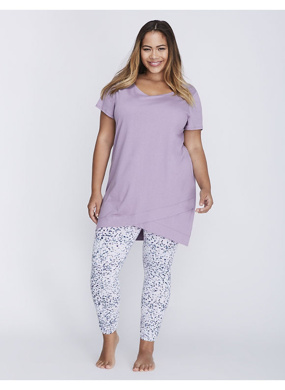 Cacique Plus Size Wrapped-Hem Tee & Legging PJ Set,  Women' Size: 26/28,  Purple Ash plus size,  plus size fashion plus size appare