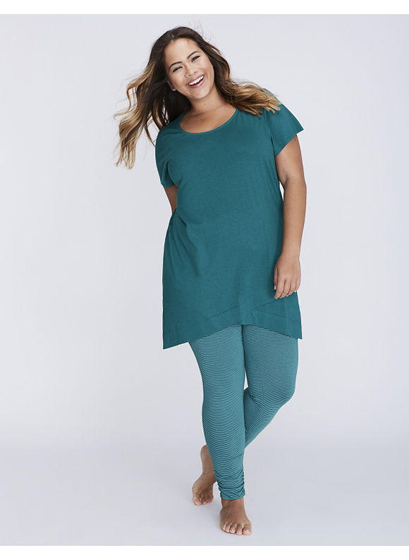 Cacique Plus Size Wrapped-Hem Tee & Legging PJ Set,  Women' Size: 18/20,  Shaded Spruce plus size,  plus size fashion plus size appare
