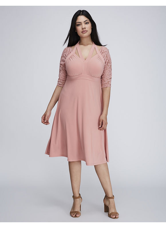 1940s Style Dresses and Clothing Kiyonna Plus Size Luring Lace Dress by Womens Size 2XL Pink $118.00 AT vintagedancer.com