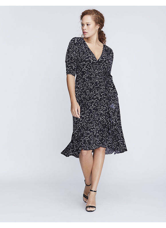 Kiyonna Plus Size Flounce Wrap Dress by Womens Size 2XL Black $108.00 AT vintagedancer.com