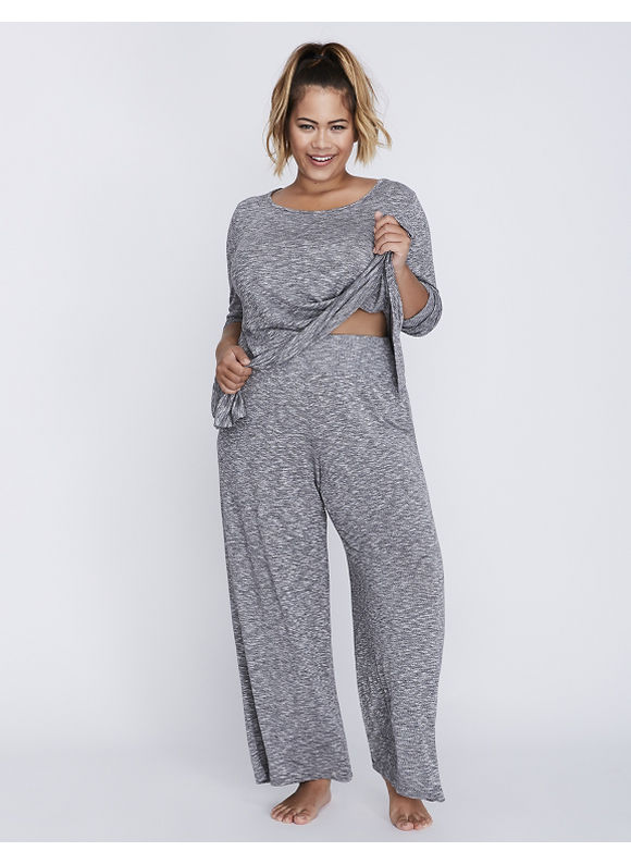 Cacique Plus Size Marled Wide Leg Sleep Pant,  Women' Size: 22/24,  Gray plus size,  plus size fashion plus size appare