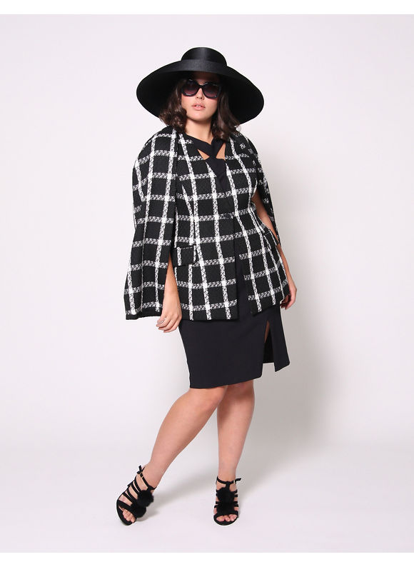 Christian Siriano Plus Size Boucle Plaid Cape by, Women's, Size: 22/24, Black