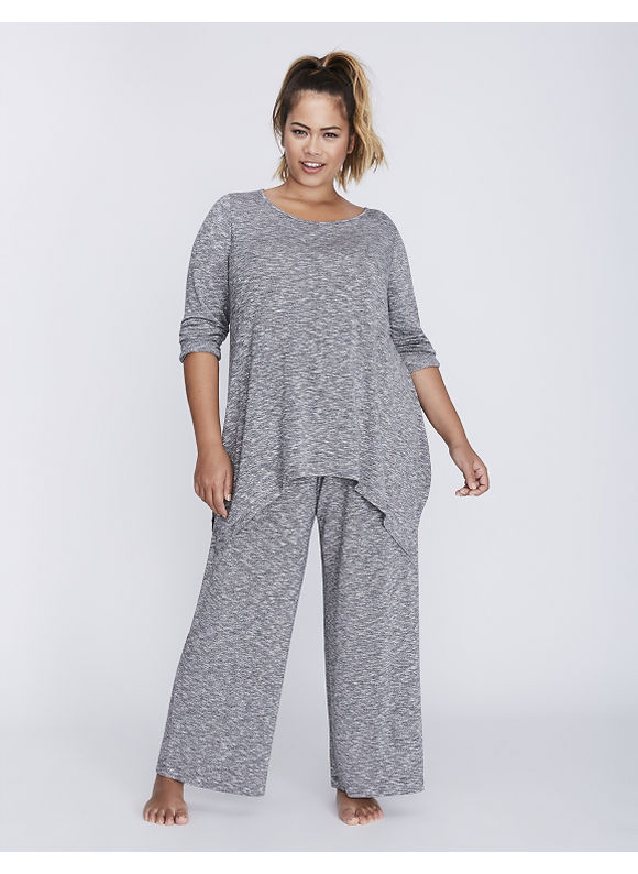 Cacique Plus Size Marled Sleep Tee with Sharkbite He Women' Size: 22/24,  Charcoal Heather plus size,  plus size fashion plus size appare