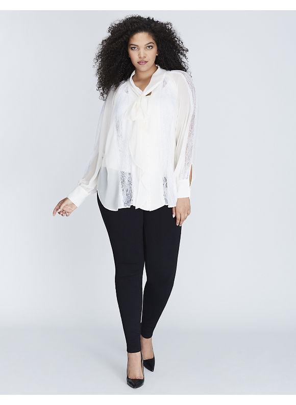 Lane Bryant Plus Size Tie-Neck Blouse with Lace Inset Women' Size: 18/20,  Black plus size,  plus size fashion plus size appare