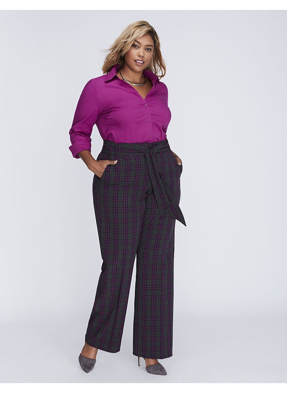 Lane Bryant Plus Size Ashley Tailored Stretch Plaid Belted Trouser,  Women' Size: 16,  Black plus size,  plus size fashion plus size appare