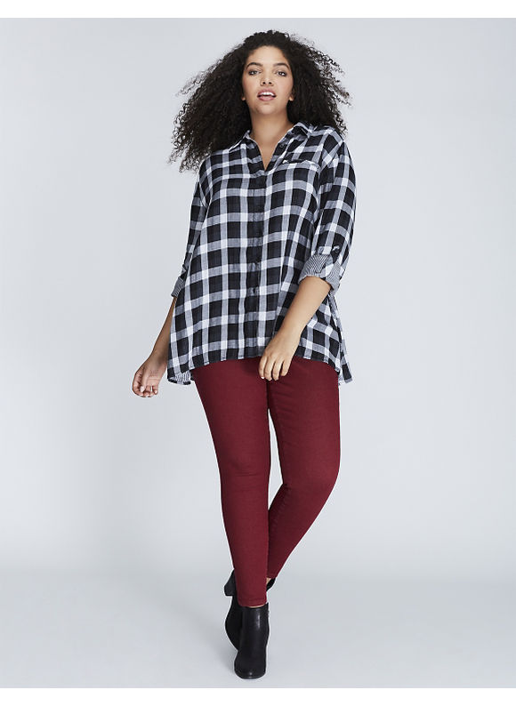 Lane Bryant Plus Size Plaid Button-Front Tunic,  Women' Size: 18/20,  Gingham plus size,  plus size fashion plus size appare
