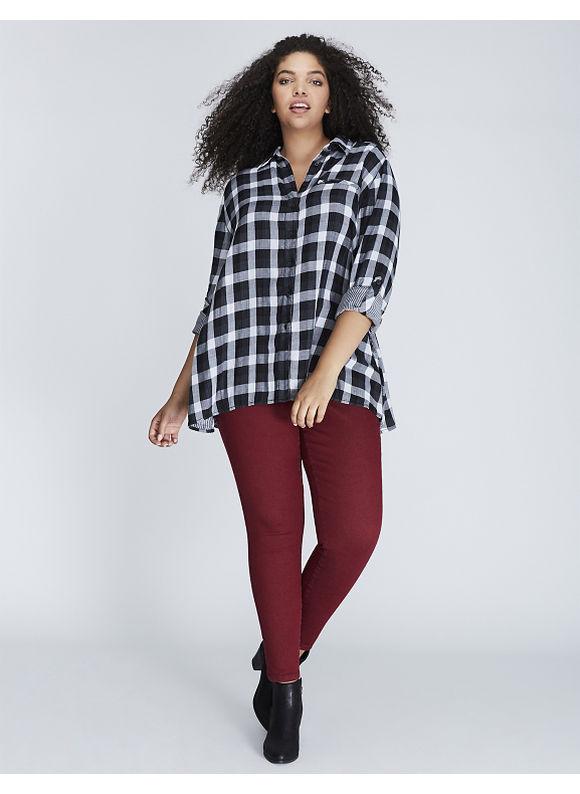 Lane Bryant Plus Size Plaid Button-Front Tunic,  Women' Size: 22/24,  Gingham plus size,  plus size fashion plus size appare