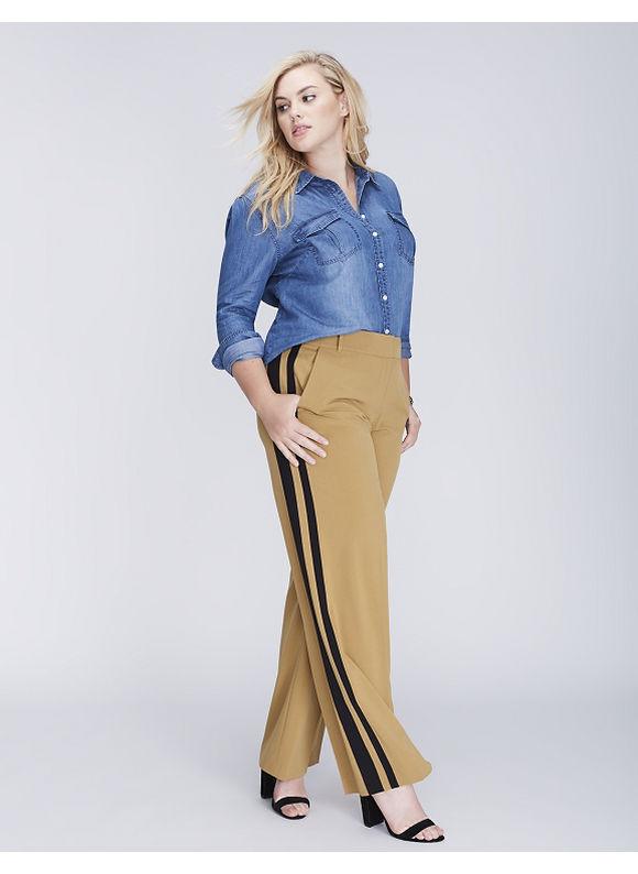 Lane Bryant Plus Size Lena Tailored Stretch Tuxedo Stripe Wide Leg Pant,  Women' Size: 18P,  Bistre plus size,  plus size fashion plus size appare
