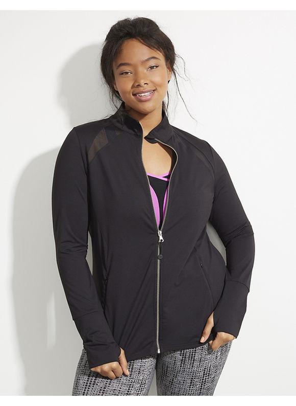 Livi Active Plus Size Wicking Active Jacket with Mesh Inset Women' Size: 14/16,  Black plus size,  plus size fashion plus size appare