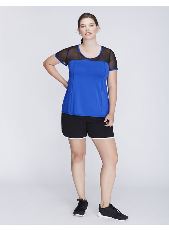 Livi Active Plus Size Cooling Mesh-Sleeve Active Tee,  Women' Size: 22/24,  Hyper Blue plus size,  plus size fashion plus size appare