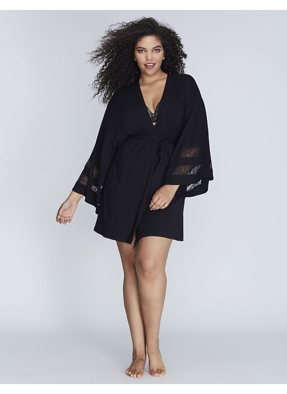 Cacique Plus Size Short Robe with Lace Inset Women' Size: 18/20,  Black plus size,  plus size fashion plus size appare
