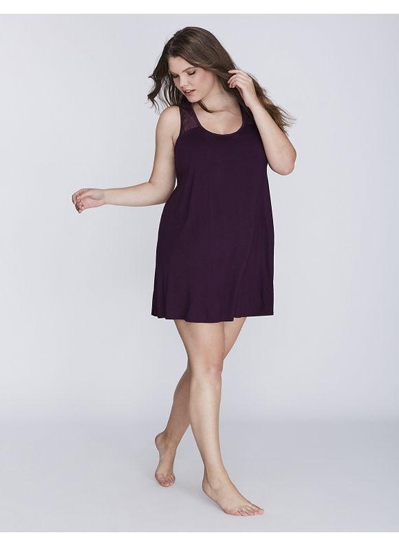 Cacique Plus Size Lace Illusion Sleep Tunic with Shelf Bra,  Women' Size: 18/20,  Deep Eggplant plus size,  plus size fashion plus size appare