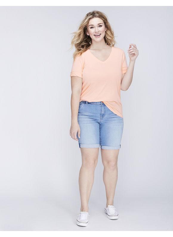 Lane Bryant Plus Size Modest Sleeve V-Neck Supima Tee, Women's, Size: 14/16, Peach Nectar