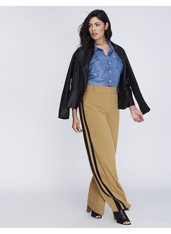 Lane Bryant Plus Size Sophie Tailored Stretch Tuxedo Stripe Wide Leg Pant,  Women' Size: 22,  Bistre plus size,  plus size fashion plus size appare