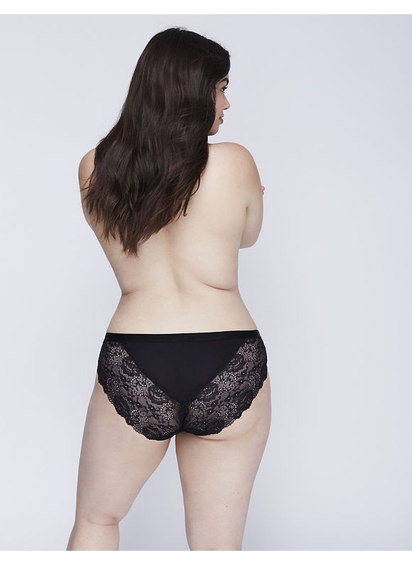 Cacique Plus Size Dazzler Hipster Panty with Lace Back,  Women' Size: 12,  Black plus size,  plus size fashion plus size appare