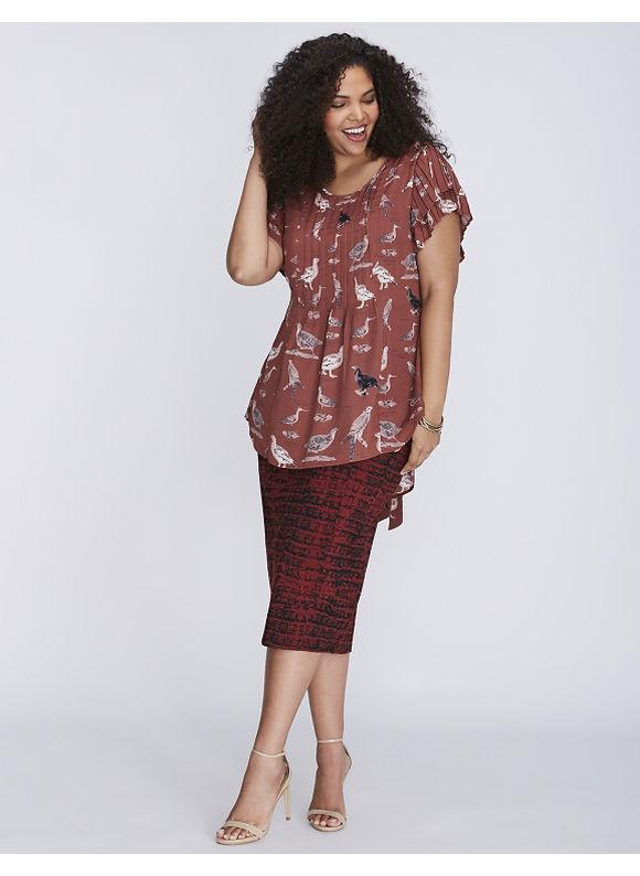 Melissa McCarthy Seven7 Plus Size Flutter-Sleeve Pintuck Blouse by,  Women' Size: 4  Driftwood Red plus size,  plus size fashion plus size appare