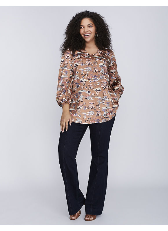 Melissa McCarthy Seven7 Plus Size 70s Blouse by,  Women' Size: 2  Brown Patina plus size,  plus size fashion plus size appare
