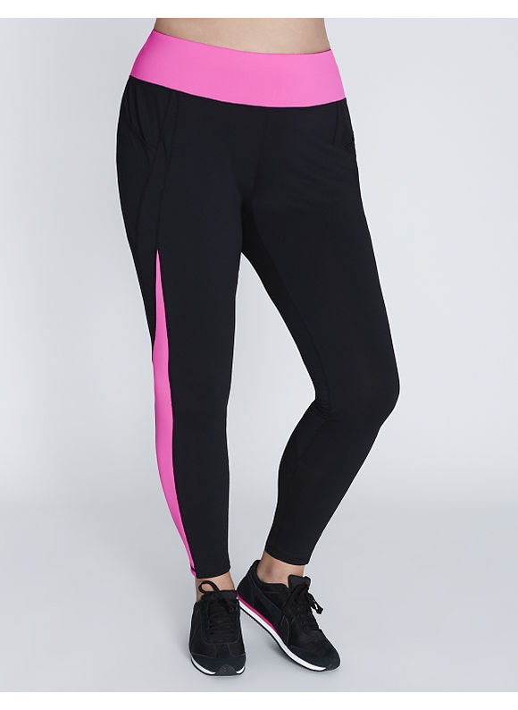 Livi Active Plus Size Wicking Spliced Active Legging with Pocket Women' Size: 14/16,  Bold Pink plus size,  plus size fashion plus size appare